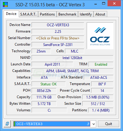 screen capture of SSD-Z
