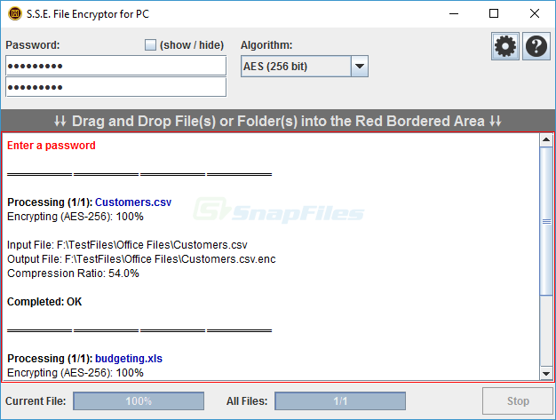 screen capture of S.S.E. File Encryptor