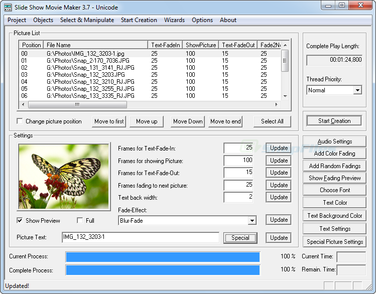 screen capture of Slide Show Movie Maker