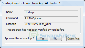screenshot of Startup Guard