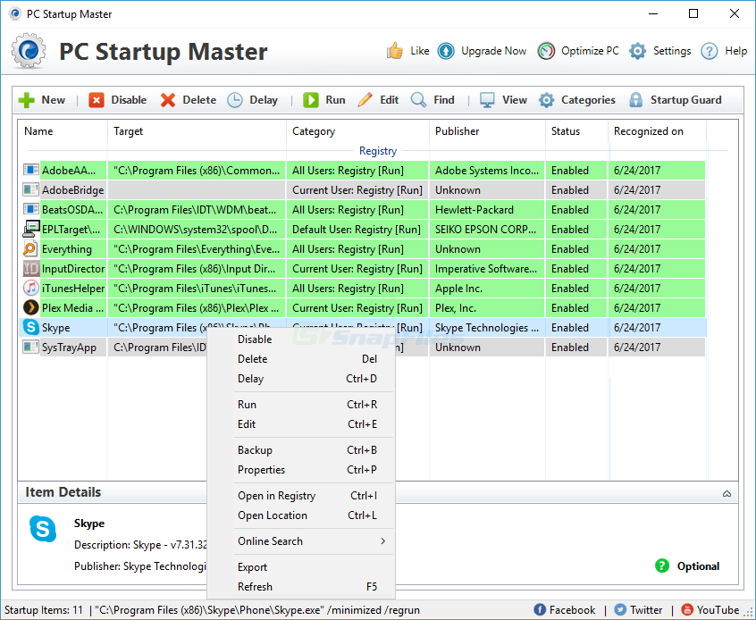 screen capture of PC Startup Master