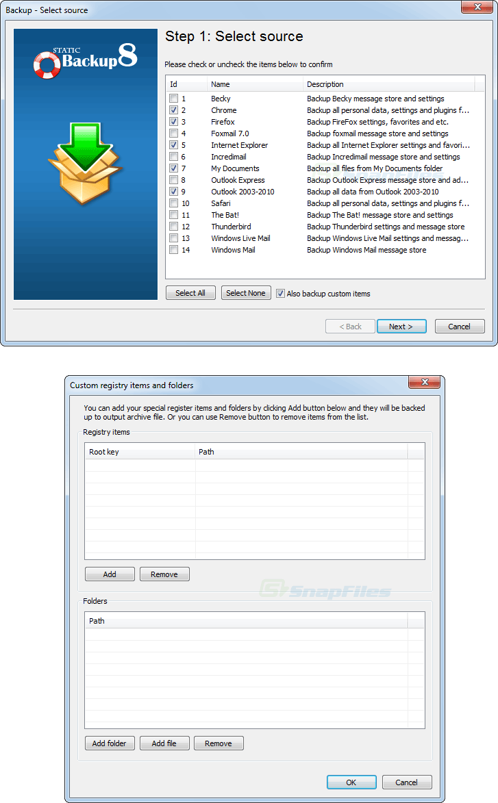 screenshot of Static Backup8