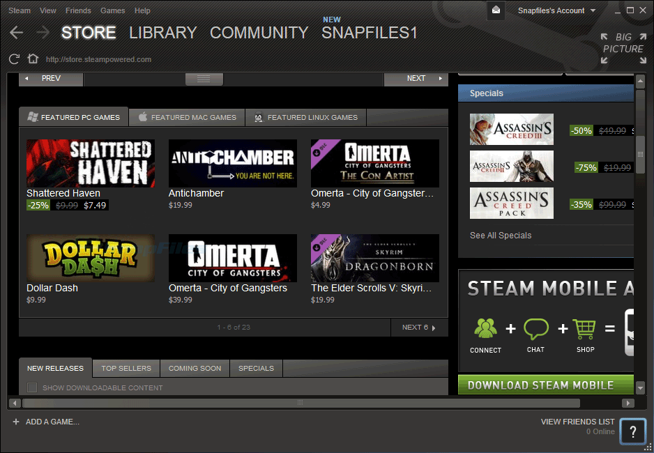 screen capture of Steam