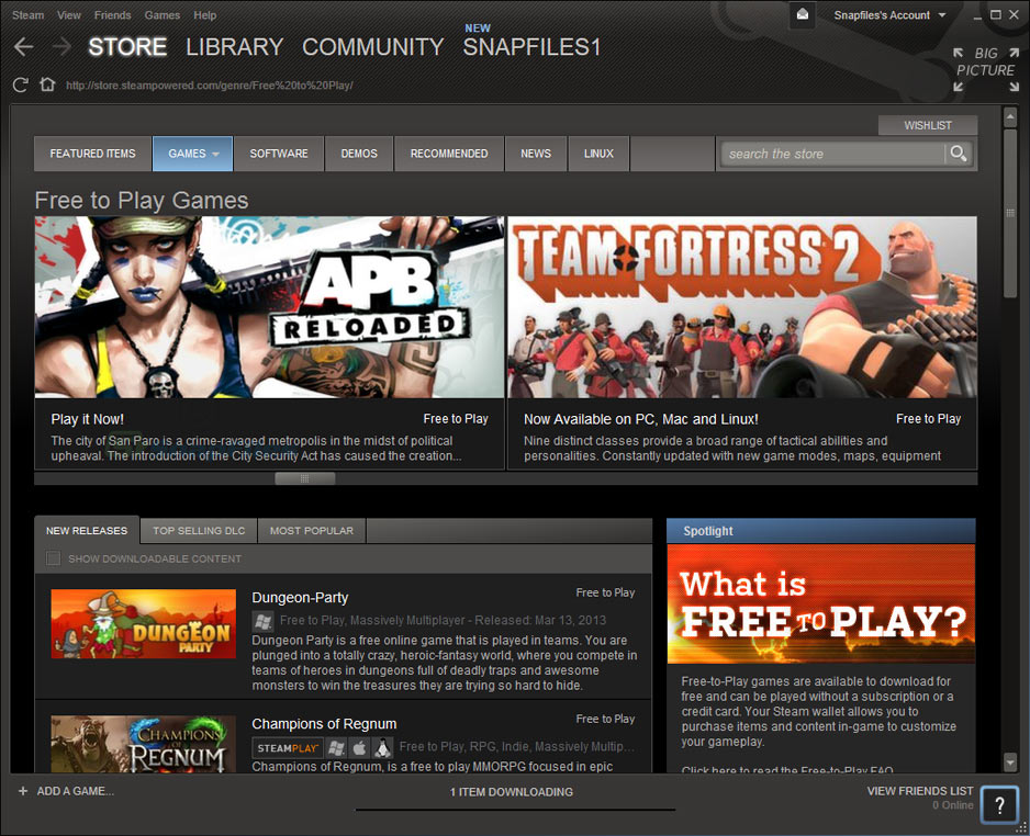 screenshot of Steam