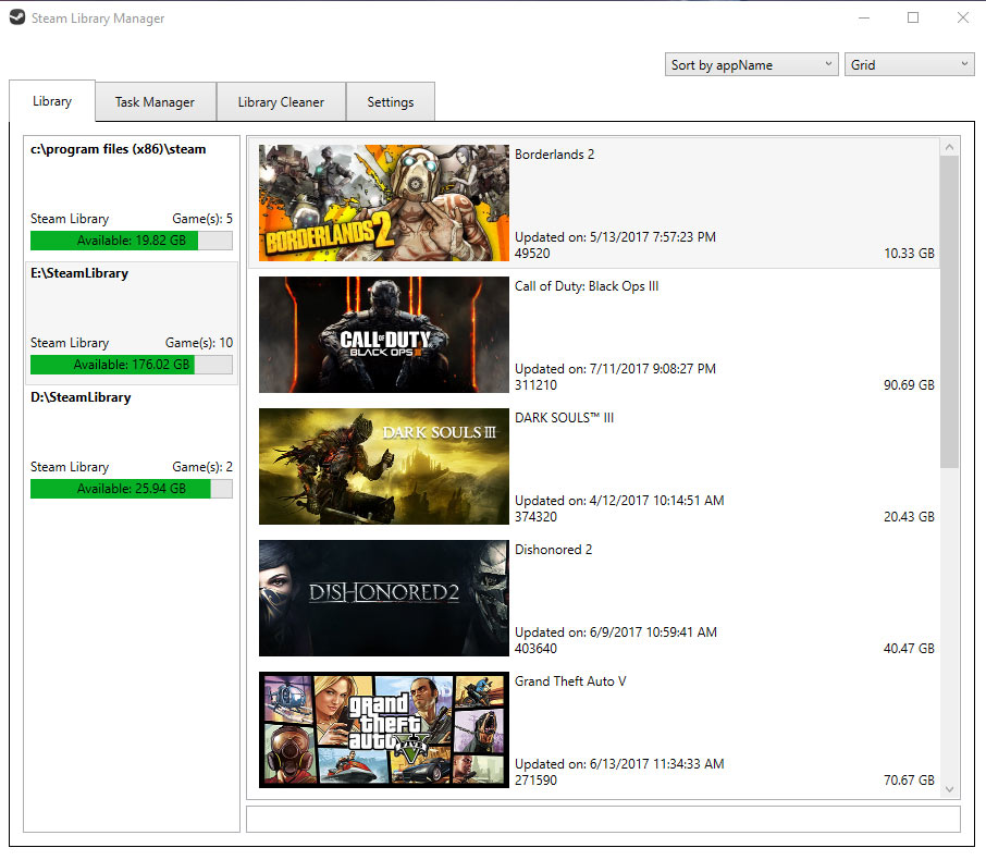 screen capture of Steam Library Manager