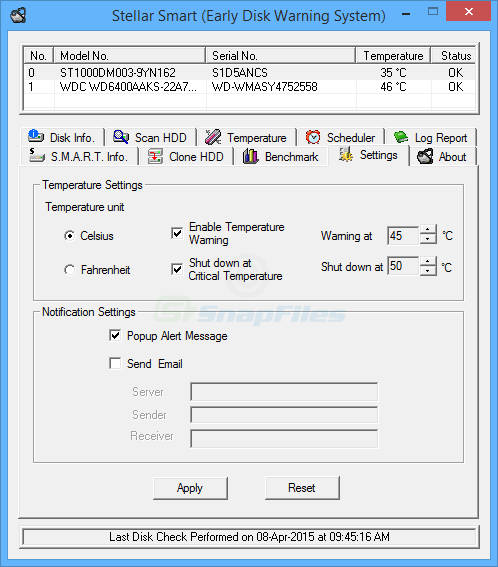screenshot of Stellar Smart (Early Disk Warning System)