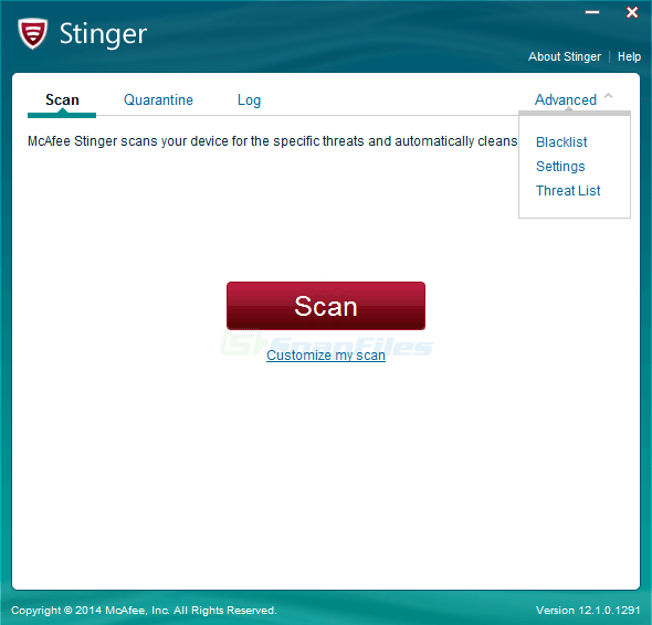 screen capture of McAfee Stinger