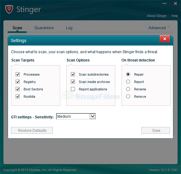 screenshot of McAfee Stinger