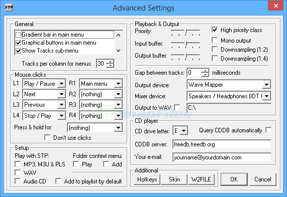 screenshot of STP MP3 player