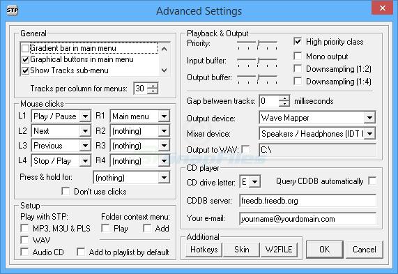 screenshot of STP MP3 player