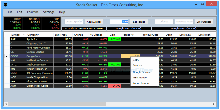 screen capture of Stock Stalker