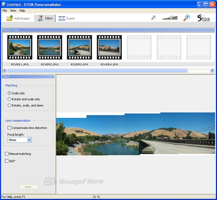 screen capture of STOIK PanoramaMaker