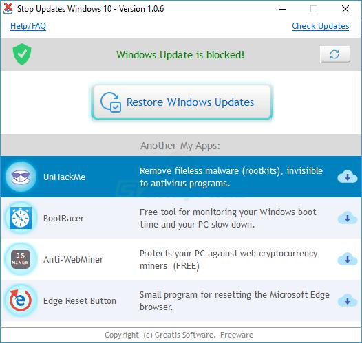 screenshot of StopUpdates10
