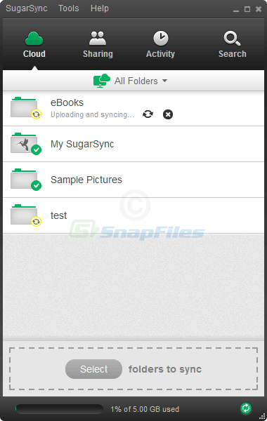 screen capture of SugarSync