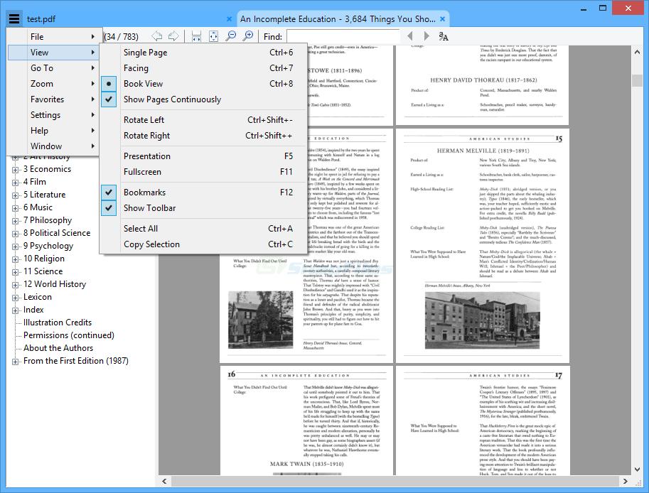 screenshot of Sumatra PDF