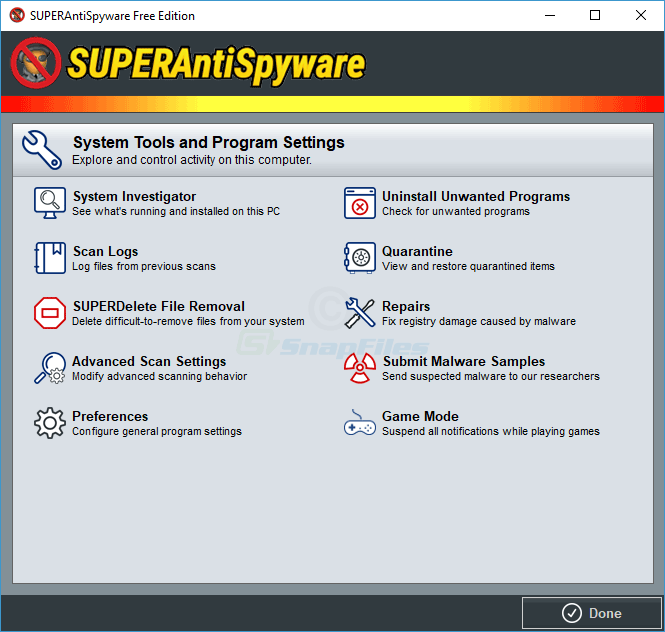 screenshot of SUPERAntiSpyware Free
