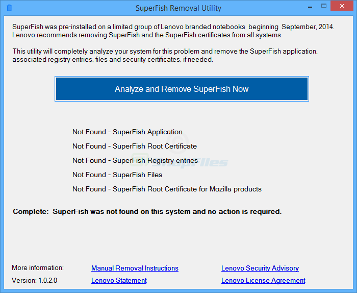 screenshot of Lenovo Superfish Removal Tool