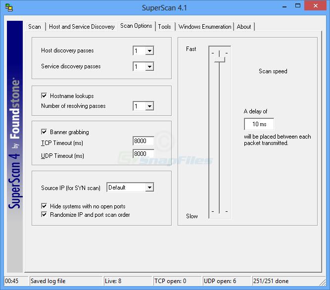 screenshot of SuperScan