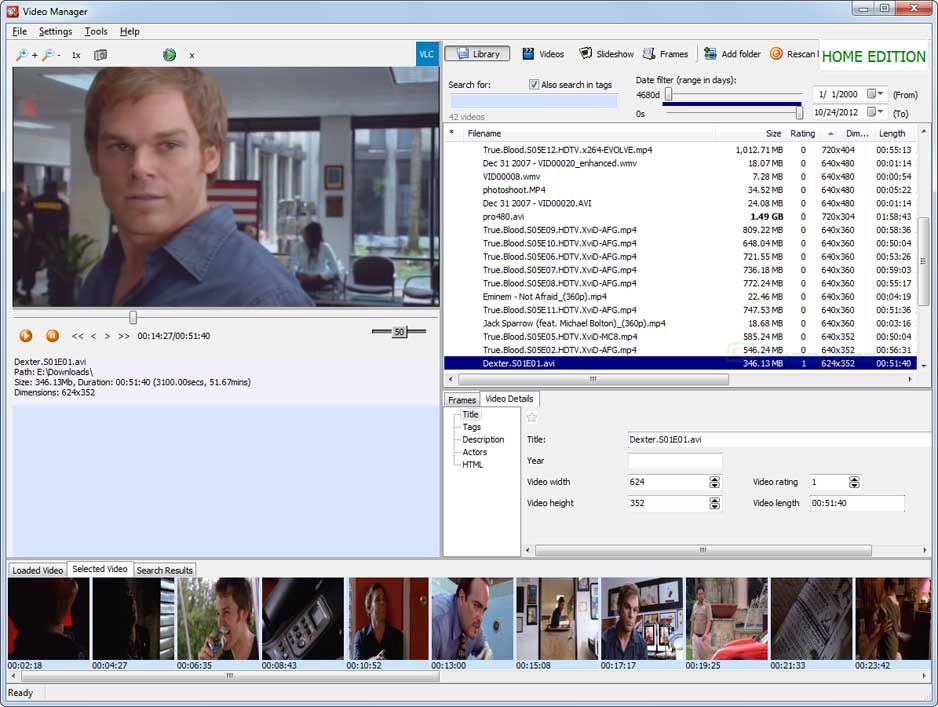 screen capture of Saleen Video Manager