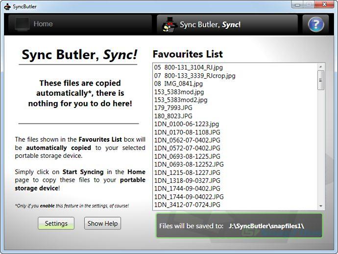 screenshot of Sync Butler