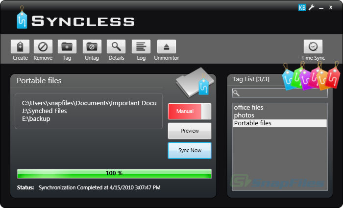 screen capture of Syncless