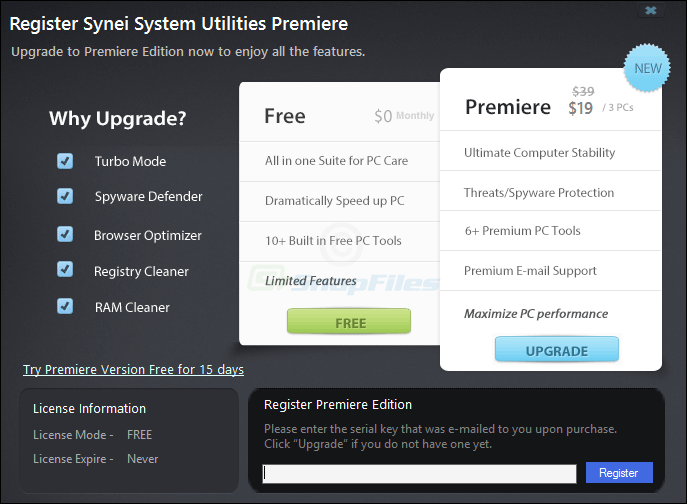 screenshot of Synei System Utilities Free