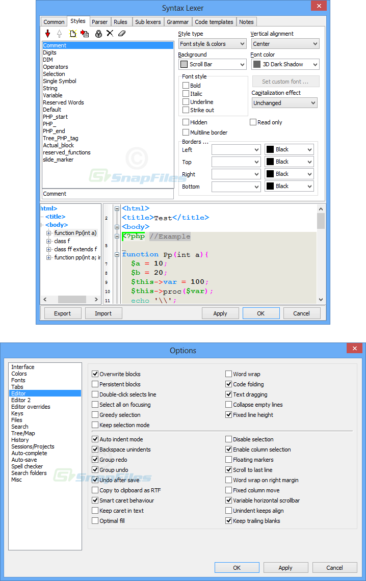 screenshot of SynWrite
