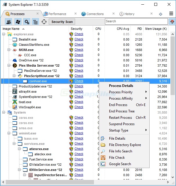 screen capture of System Explorer