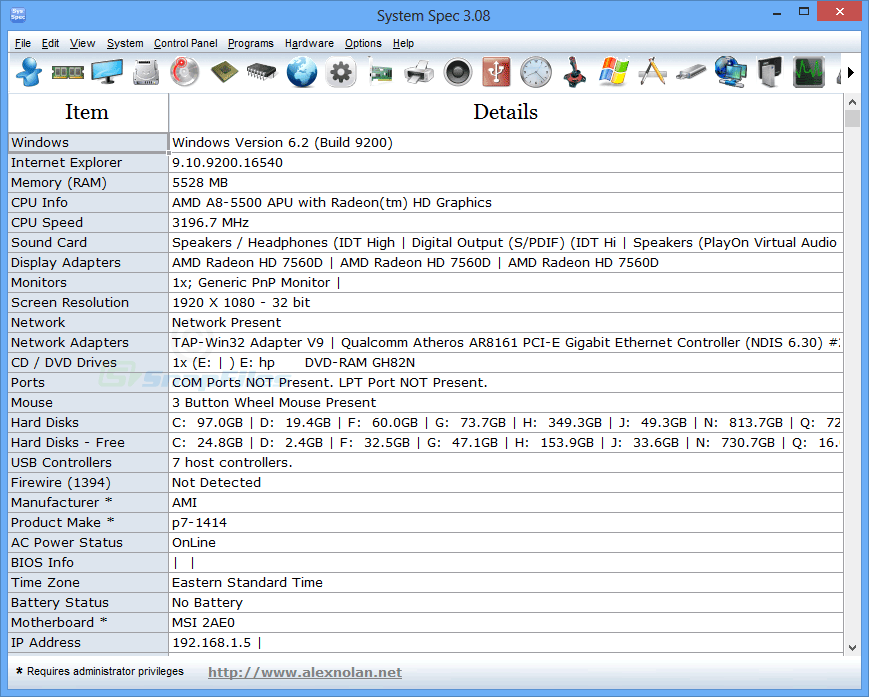 screen capture of System Spec
