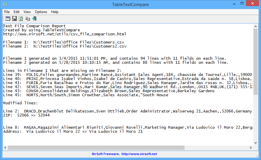 screen capture of TableTextCompare