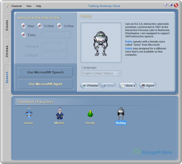 screenshot of Talking Desktop Clock