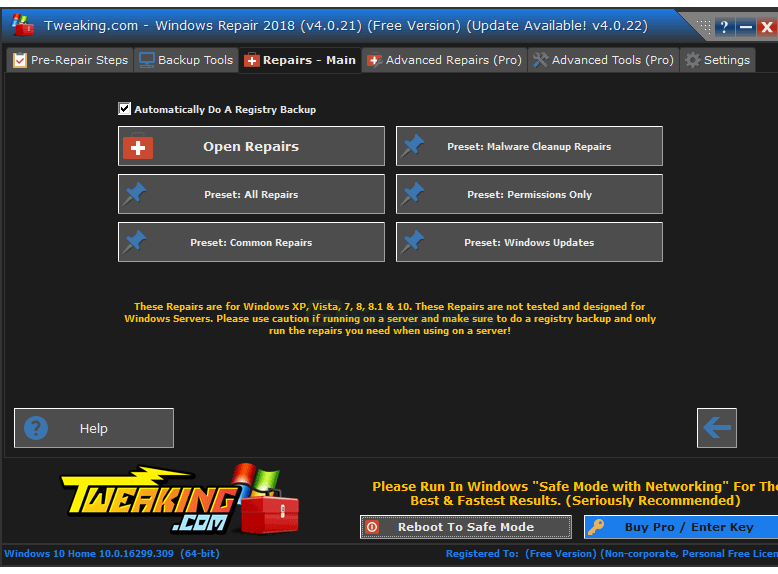 screenshot of Tweaking.com Windows Repair