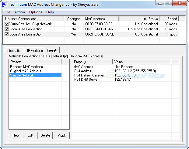 screenshot of Technitium MAC Address Changer