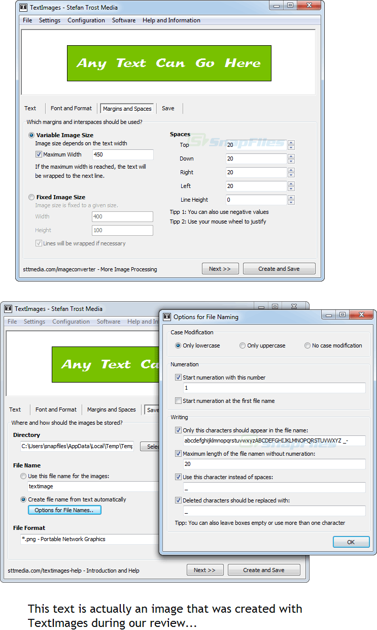screenshot of TextImages