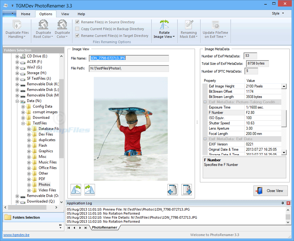 screenshot of TGMDev PhotoRenamer