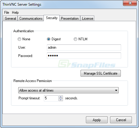 screenshot of ThinVNC FREE