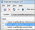 Index.dat Analyzer screenshot