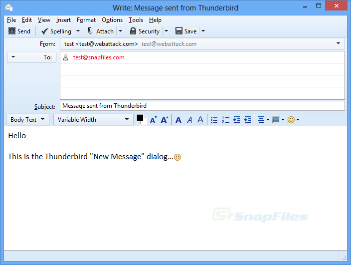 screenshot of Thunderbird