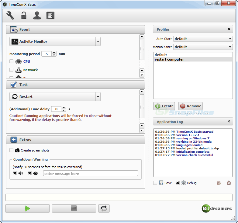 screenshot of TimeComX Basic