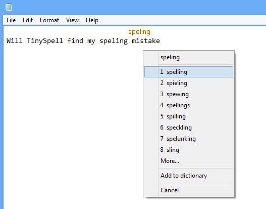 screen capture of tinySpell