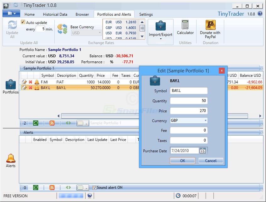 screenshot of TinyTrader
