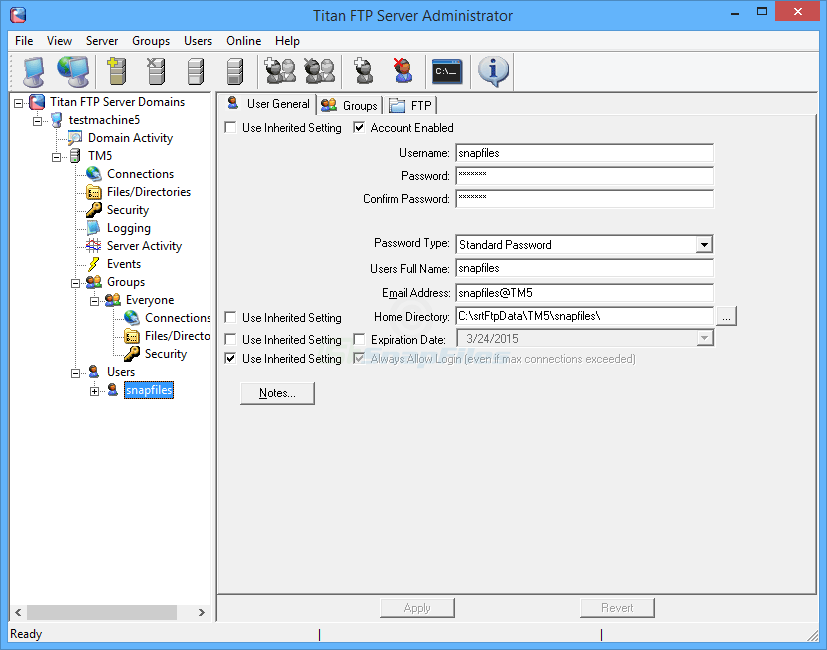 screenshot of Titan FTP Server