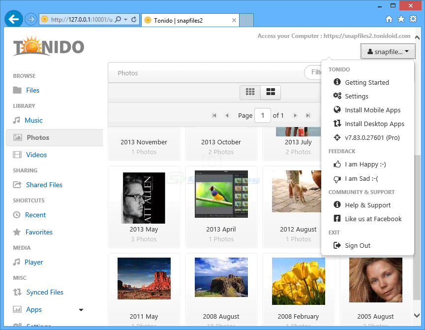screenshot of Tonido Server