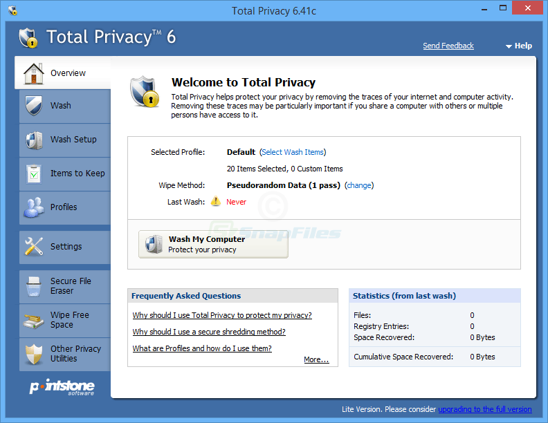 screen capture of Total Privacy