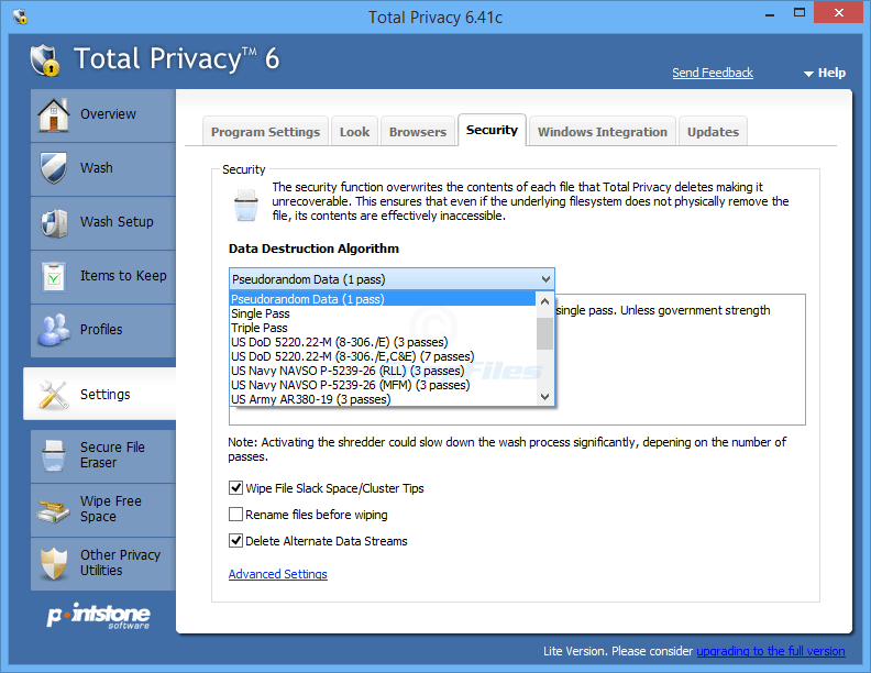 screenshot of Total Privacy