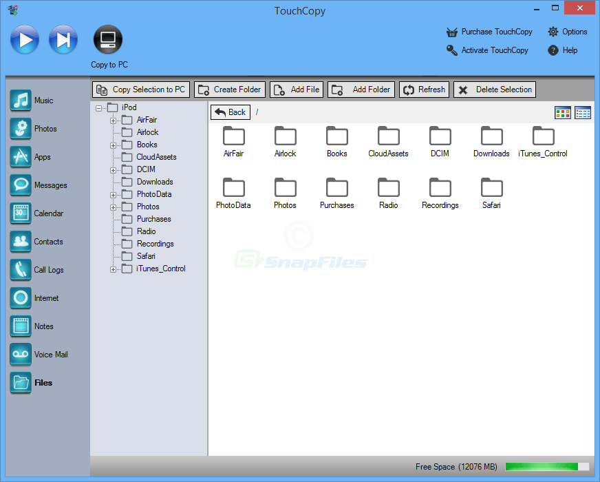 screenshot of TouchCopy