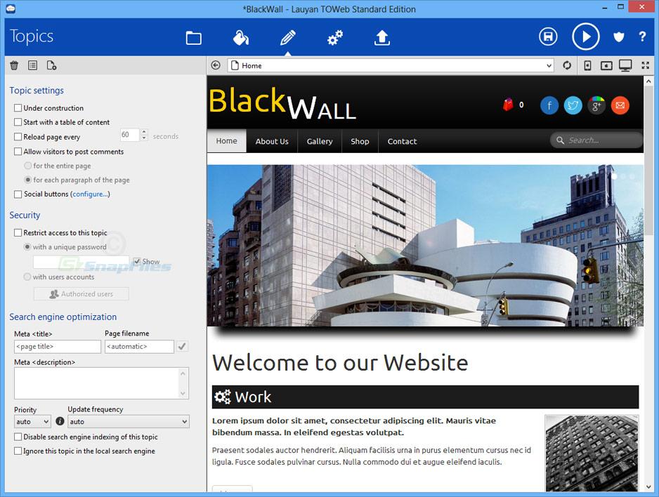 screen capture of TOWeb