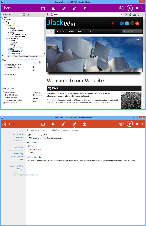 screenshot of TOWeb