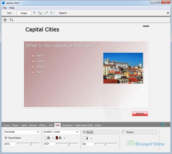 screenshot of Tanida Quiz Builder