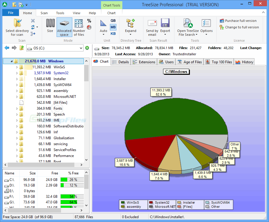 screen capture of TreeSize Professional